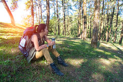 Hiker women resting drinking water Royalty Free Stock Photography