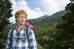 Hiker in the woods Royalty Free Stock Photo