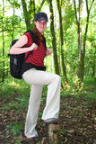 Hiker in the Woods Stock Image
