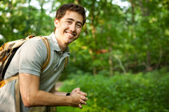 Hiker in the Woods Stock Photos