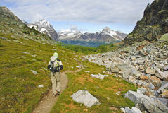 Hiker in Yoho national parc. British Columbia, Canada Stock Photo
