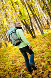 Hiker young man walking Royalty Free Stock Photography