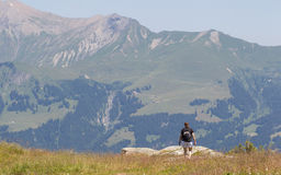 Hiker, young woman with backpack Royalty Free Stock Image
