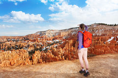 Hiker young woman in Bryce canyon Stock Images