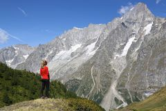 Hiker young woman in Courmayeur royalty free stock photography