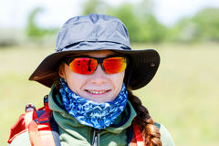 Hiker young woman portrait. Close up photo of smiling hiker young  woman Royalty Free Stock Image