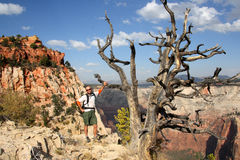 Hiker in Zion National Park Royalty Free Stock Images