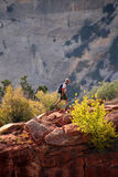 Hiker in Zion National Park Stock Images