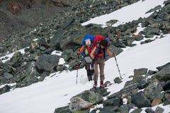 Hikers в горах Altai Стоковые Изображения RF
