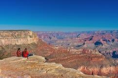 Hikers в национальном парке гранд-каньона, США Стоковые Изображения RF