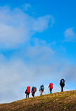 hikers группы стоковое изображение