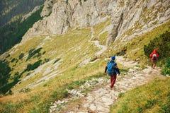 2 hikers делая их путь вниз с скалистой горной тропы Стоковое Изображение RF