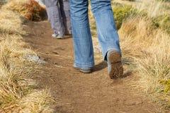 Hikers идя вдоль песочной тропы горы Стоковое Фото