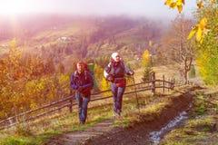 2 Hikers идя на сельский след среди осеннего леса Стоковые Изображения