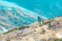 Hikers идя на тропу в тонизированном ультрамодном долины горы Стоковое Изображение RF