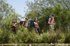 Hikers идя озером Стоковые Изображения