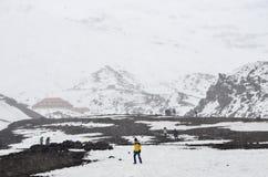 Hikers на Котопакси, эквадоре, втором самом высоком саммите в эквадоре Стоковые Фото