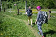 Hikers на следе в древесине Стоковое фото RF