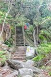 Hikers на следе водопада Стоковые Изображения