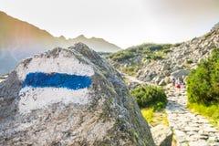 Hikers на следе в красивых горах Стоковые Изображения