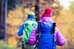 Hikers пар человека и женщины счастливые идя в древесины осени Стоковое фото RF