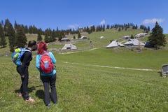 Hikers пешего †«идя на поход в природе горы и указывая на горный пик, на солнечный день Стоковое Фото