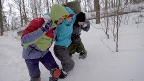 Hikers помогая раненому другу идти в снег сток-видео
