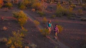Hikers пустыни в свете позднего вечера золотом сток-видео