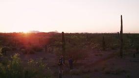 Hikers пустыни на заходе солнца с пирофакелами объектива сток-видео