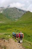 hikers семьи стоковые изображения