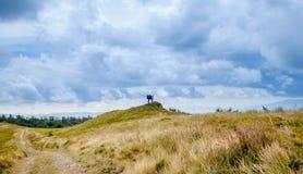 2 hikers смотря ландшафт горы Стоковое Фото