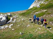 Hikers собирают trekking в Крыме Стоковые Фотографии RF