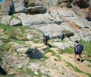 Hikers собирают trekking в Крыме Стоковое фото RF