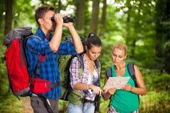 Hikers с картой и бинокулярное Стоковые Изображения