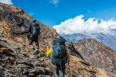 2 Hikers с рюкзаками идя вверх на горную тропу Стоковые Изображения