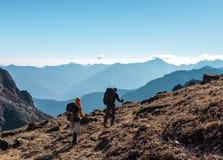 2 Hikers с рюкзаками идя на травянистую пятку в горах Стоковое Изображение RF