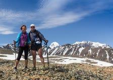 Hikers с рюкзаками наслаждаясь взглядом долины от верхней части Стоковая Фотография RF