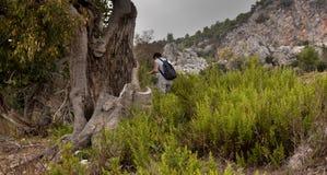 Hikers человека и женщины trekking дороги в Турции Стоковое Изображение