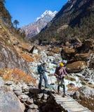 2 Hikers человек и женщина пересекая деревянный мост в горах Стоковое фото RF