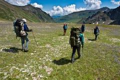 hikers двигая к верхней части Стоковые Фото