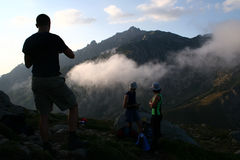 Hikers. In the mountains Stock Photography