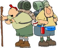 Hikers. This illustration depicts 2 hikers Stock Photos