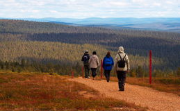 Hikers in Inari, Saariselkä, Finland Stock Photo