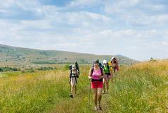Hikers. Family hikes in  Crimea mountains Royalty Free Stock Photography