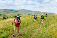 Hikers. Family hikes in  Crimea mountains Stock Photo