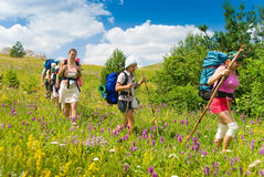 Hikers. Group of people hikes in  Crimea mountains Stock Images