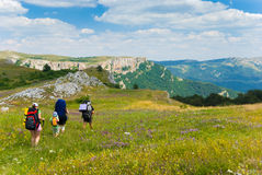 Hikers. Family hikes in  Crimea mountains Royalty Free Stock Image