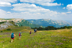Hikers. Family hikes in  Crimea mountains Stock Photography