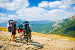 Hikers. Admire a scenery in Crimea mountains Stock Photos