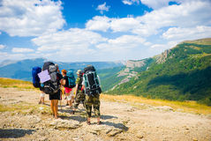 Hikers. Admire a scenery in Crimea mountains Royalty Free Stock Image